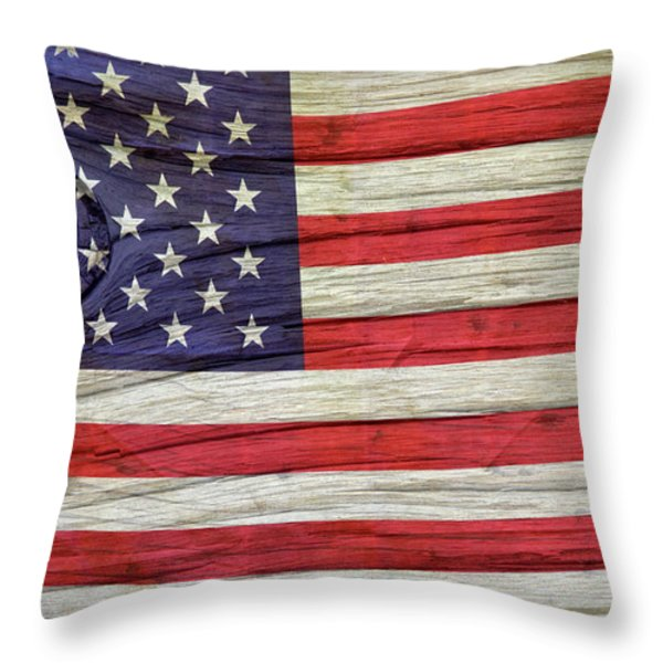 Grungy Textured Usa Flag Throw Pillow by John Stephens