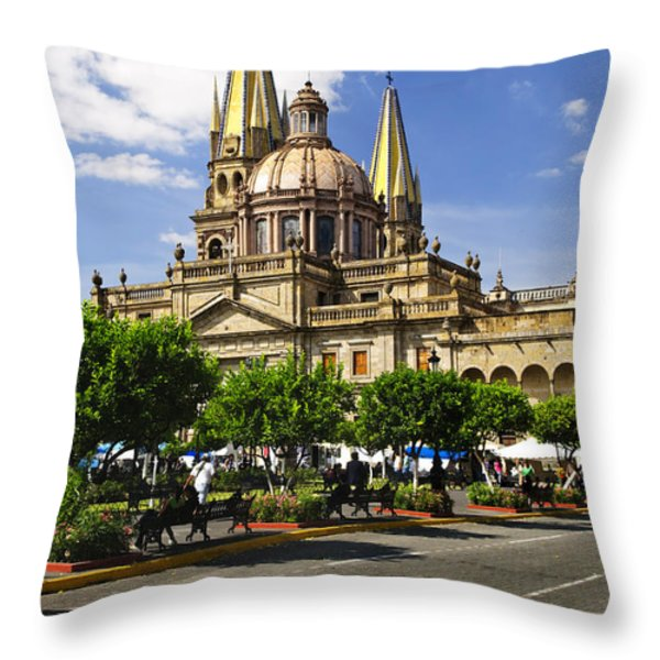Guadalajara Cathedral Throw Pillow by Elena Elisseeva