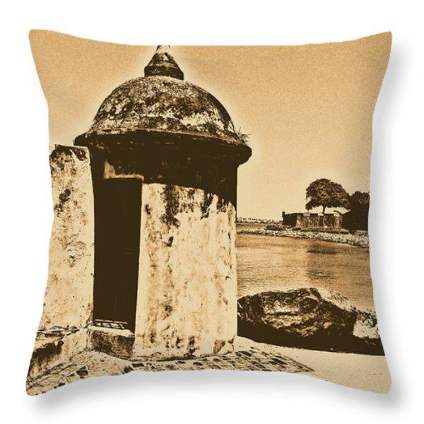 Guard Post Castillo San Felipe Del Morro San Juan Puerto Rico Rustic Throw Pillow by Shawn O'Brien
