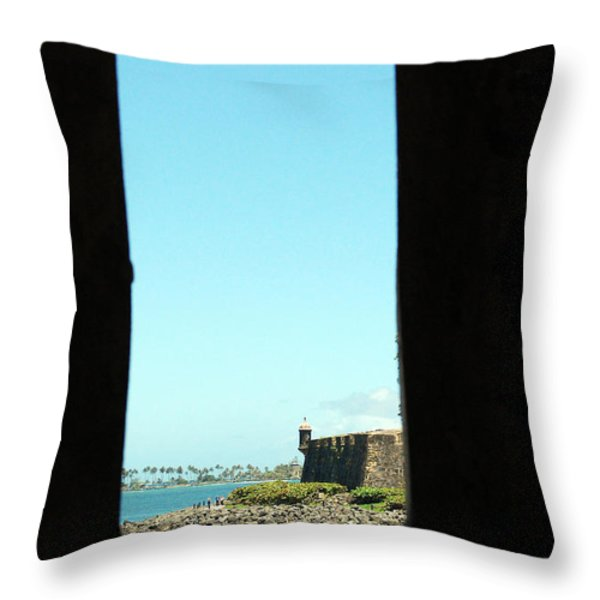 Guard Tower View Castillo San Felipe Del Morro San Juan Puerto Rico Throw Pillow by Shawn O'Brien