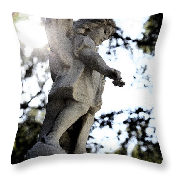 Guardian Angel With Light From Above Throw Pillow by Nina Prommer