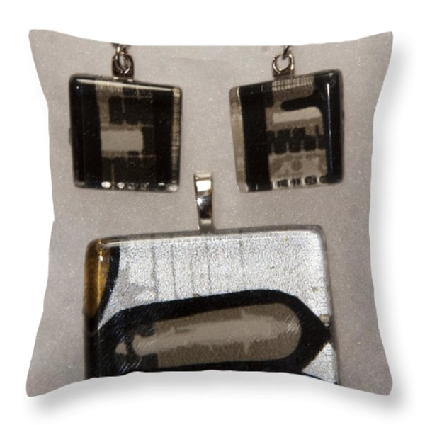 Guitar Glass Tile Set Throw Pillow by Darleen Stry