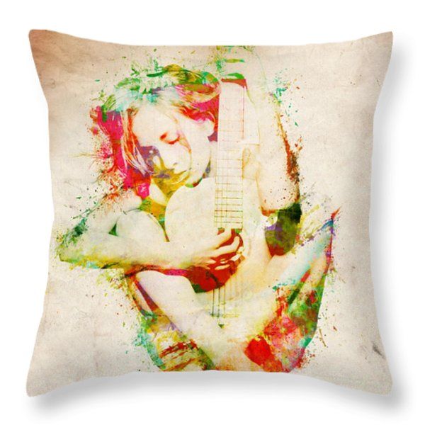 Guitar Lovers Embrace Throw Pillow by Nikki Marie Smith