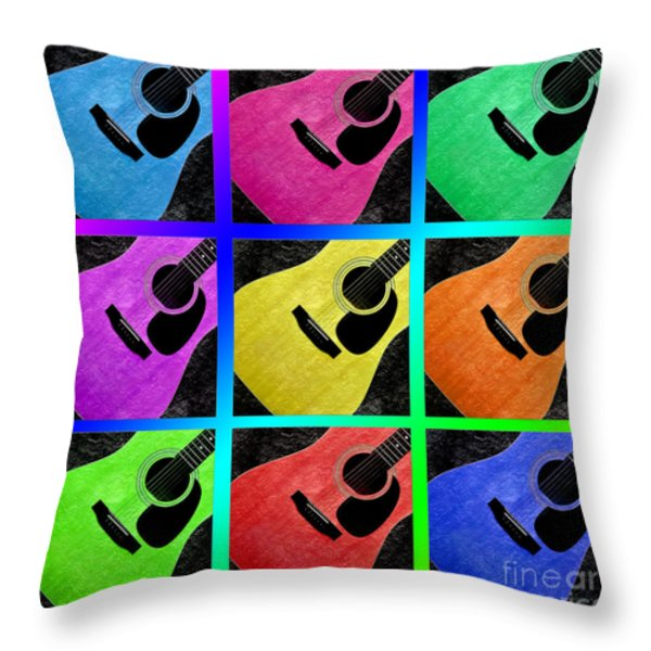 Guitar Tic Tac Toe Rainbow Throw Pillow by Andee Design