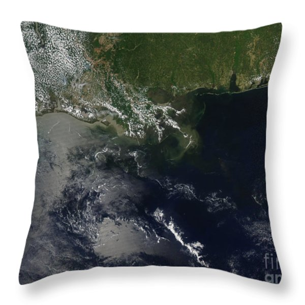 Gulf Oil Spill, April 2010 Throw Pillow by NASA