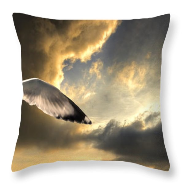 gull with approaching storm Throw Pillow by Meirion Matthias