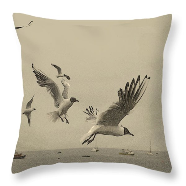 Gulls Throw Pillow by Linsey Williams
