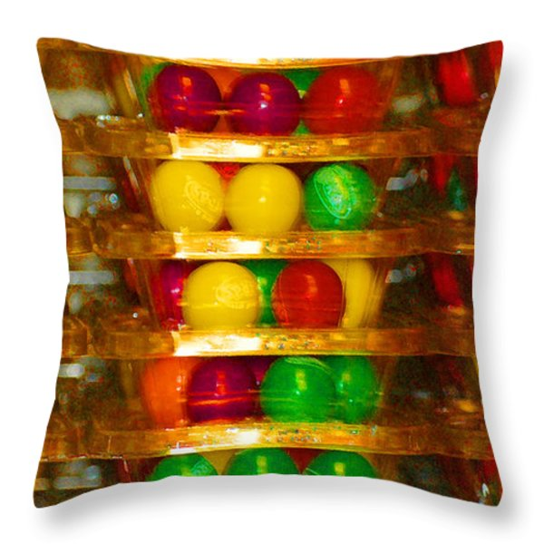 Gumball Candy Abstract Throw Pillow by adSpice Studios