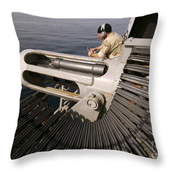 Gunner Manning A Mk-38 25mm Heavy Throw Pillow by Stocktrek Images