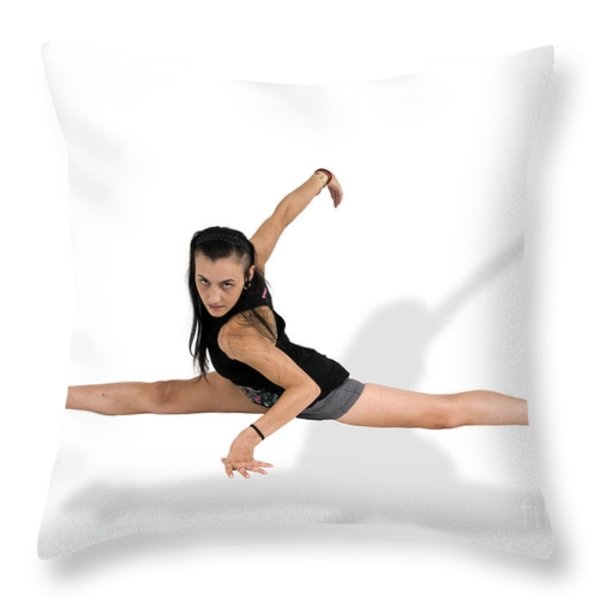 gymnast does the splits  Throw Pillow by Ilan Rosen