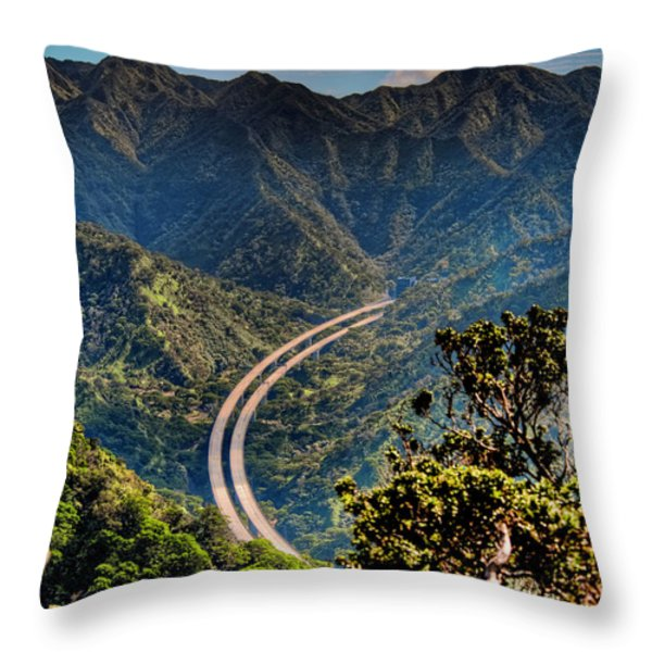 H-3 From The Aiea Loop Trail Throw Pillow by Dan McManus
