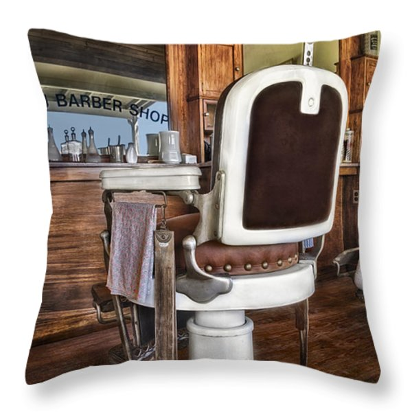 H J Barber Shop Throw Pillow by Susan Candelario