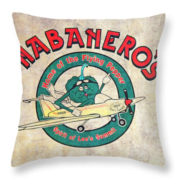 Habaneros Home Of The Flying Pepper Sign 3 Throw Pillow by Andee Design