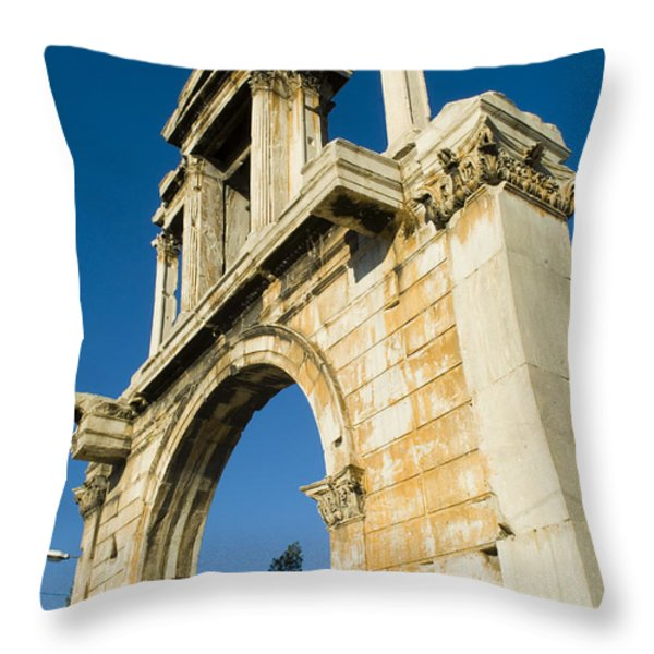 Hadrians Arch In Athens, Greece Throw Pillow by Richard Nowitz