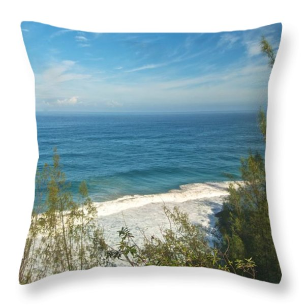 Haena State Park Overview Throw Pillow by Michael Peychich
