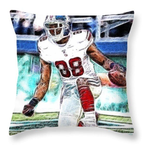 Hakeem Nicks - Sports - Football Throw Pillow by Paul Ward
