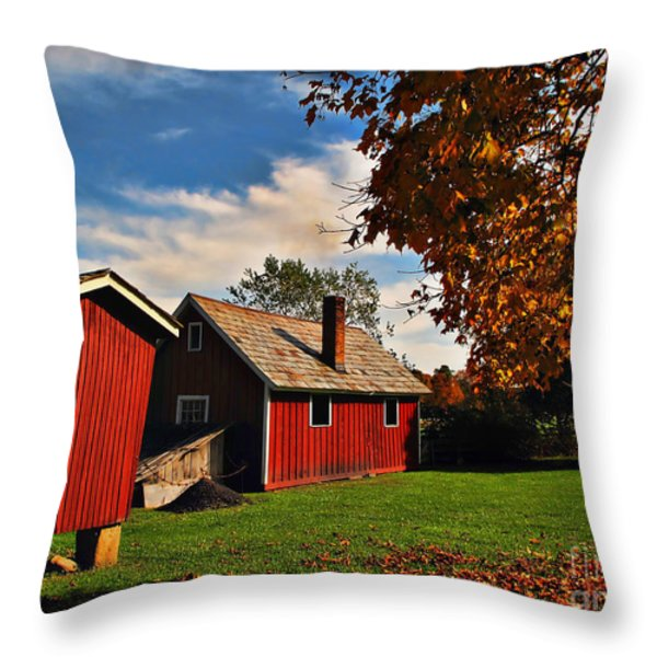 Hale Farm In Autumn Throw Pillow by Joan  Minchak