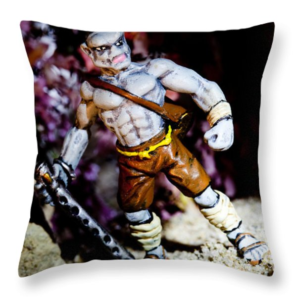 Half Orc Monk Throw Pillow by Marc Garrido