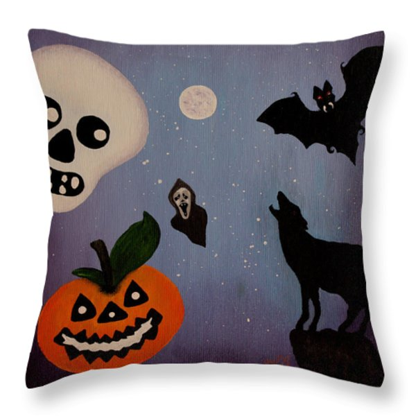 Halloween Night Original Acrylic Painting Placemat Throw Pillow by Georgeta  Blanaru