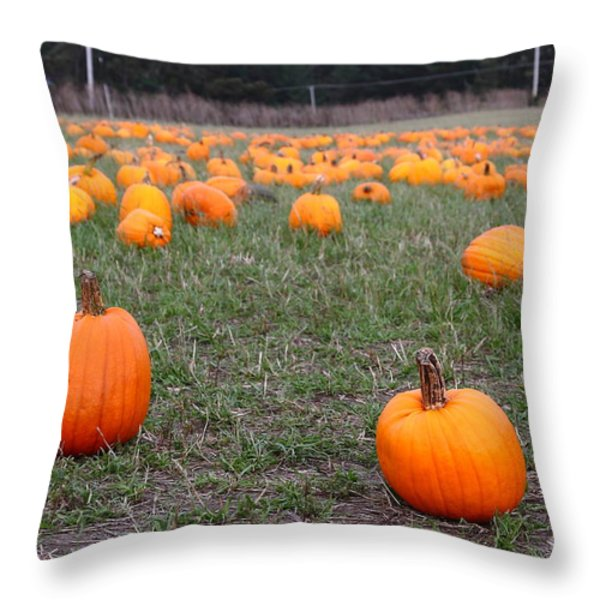 Halloween Pumpkin Patch 7d8383 Throw Pillow by Wingsdomain Art and Photography
