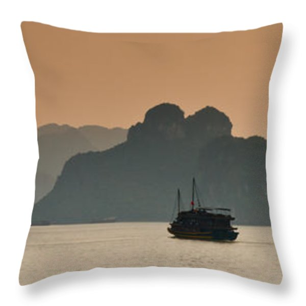 Halong Bay Throw Pillow by Peter Verdnik