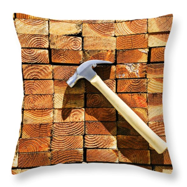 Hammer And Stack Of Lumber Throw Pillow by Garry Gay