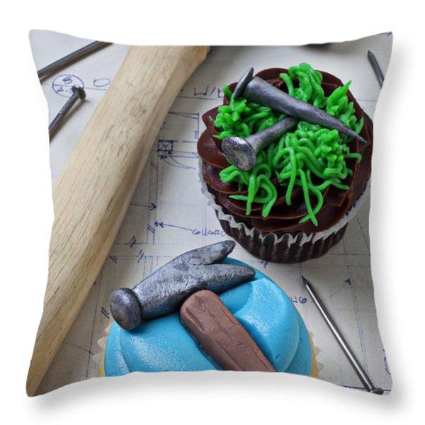 Hammer Cupcake Throw Pillow by Garry Gay