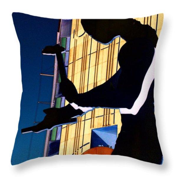 Hammering Man Throw Pillow by Tim Allen