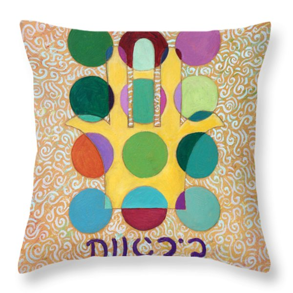 Hamsa Blessing Throw Pillow by John Keaton