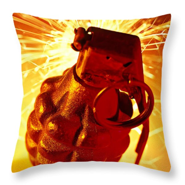 Hand Grenade  Throw Pillow by Garry Gay