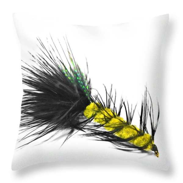 Hand Tied Fishing Lure Throw Pillow by Susan Leggett