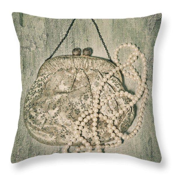 Handbag With Pearls Throw Pillow by Joana Kruse