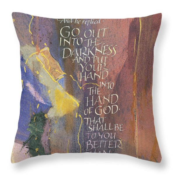 Handofgod Throw Pillow by Judy Dodds