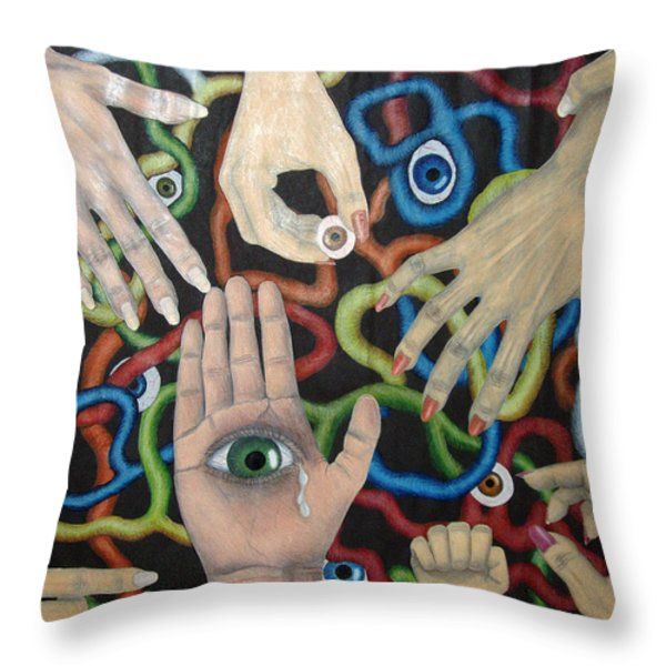Hands And Eyes Throw Pillow by Nancy Mueller