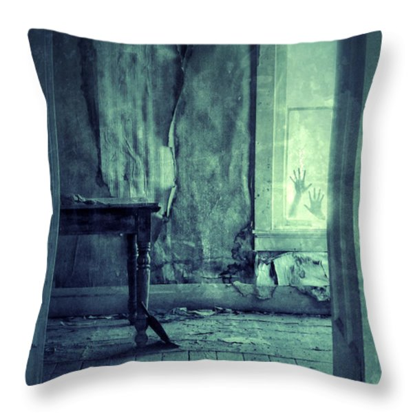 Hands on Window of Creepy Old House Throw Pillow by Jill Battaglia