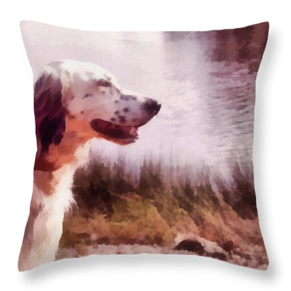 Handsome Hunter. English Setter Throw Pillow by Jenny Rainbow