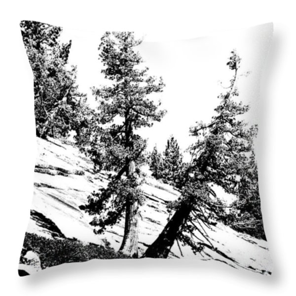 Hanging On Throw Pillow by Bonnie Bruno