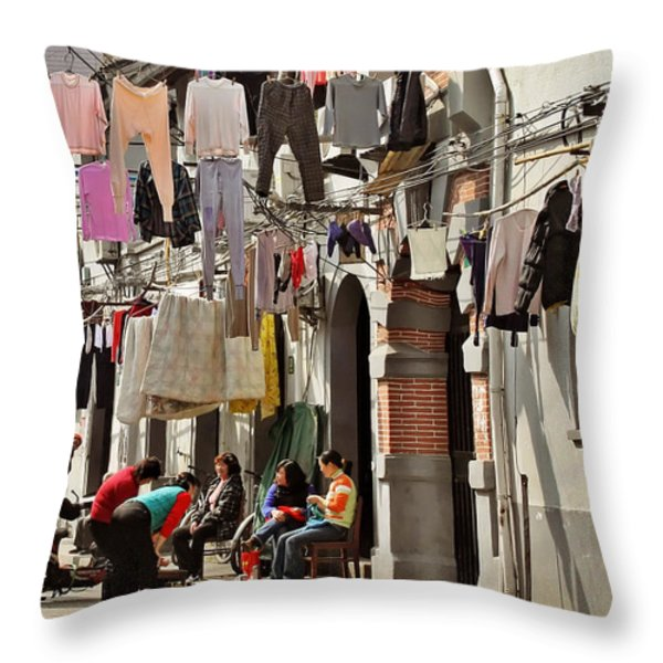 Hanging out in the streets of Shanghai Throw Pillow by Christine Till