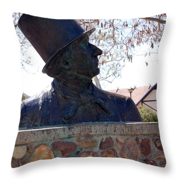 Hans Christian Andersen Statue In The Park In Solvang California Throw Pillow by Susanne Van Hulst