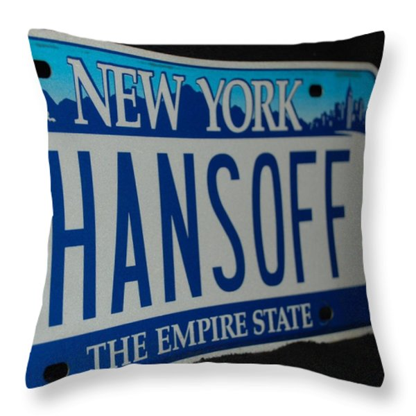 Hans Off Throw Pillow by Rob Hans
