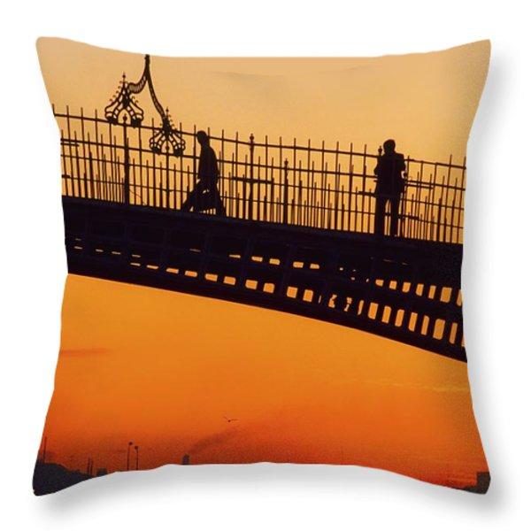 Hapenny Bridge, Dublin, Co Dublin Throw Pillow by The Irish Image Collection