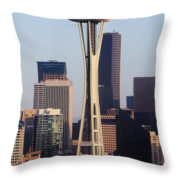 Happy 50th Space Needle Throw Pillow by Benjamin Yeager