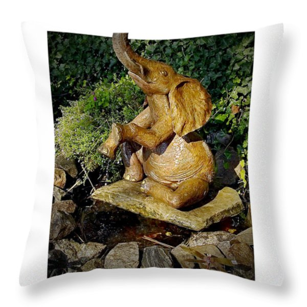 Happy Elephant Throw Pillow by Brian Wallace