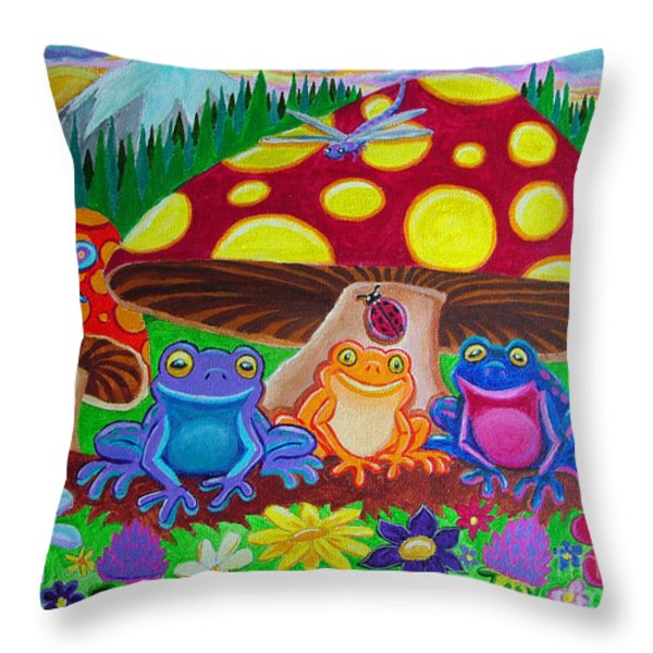 Happy Frog Meadows Throw Pillow by Nick Gustafson