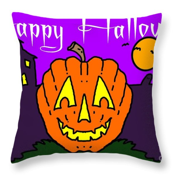 Happy Halloween 2 Throw Pillow by George Pedro