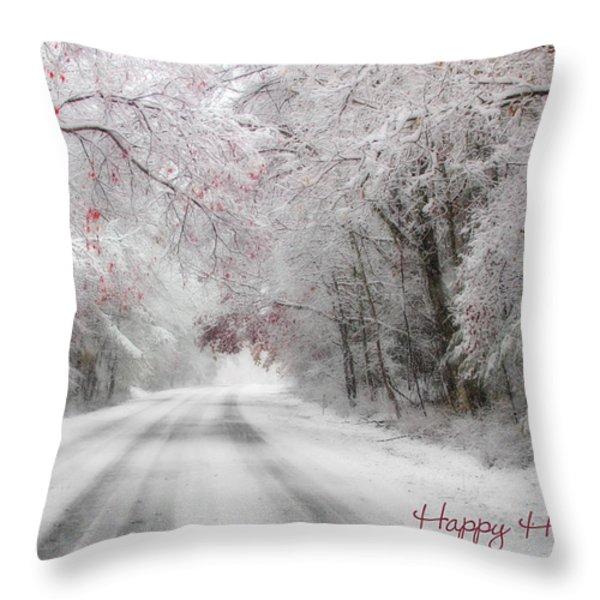 Happy Holidays - Clarks Valley Throw Pillow by Lori Deiter