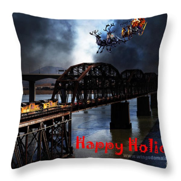 Happy Holidays - Once Upon A Time In The Story Book Town Of Benicia California - 5d18849 Throw Pillow by Wingsdomain Art and Photography