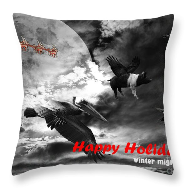 Happy Holidays . Winter Migration . bw Throw Pillow by Wingsdomain Art and Photography