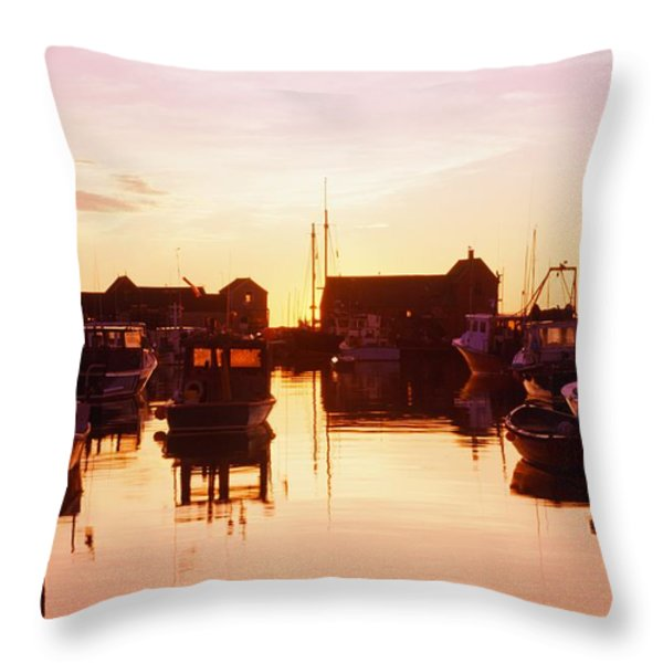 Harbor At Sunrise Throw Pillow by Bilderbuch