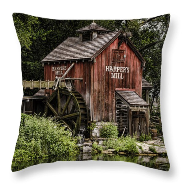 Harpers Mill Throw Pillow by Heather Applegate